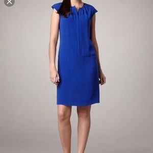 Magaschoni Silk Cobalt Blue Front Zip Shift Dress